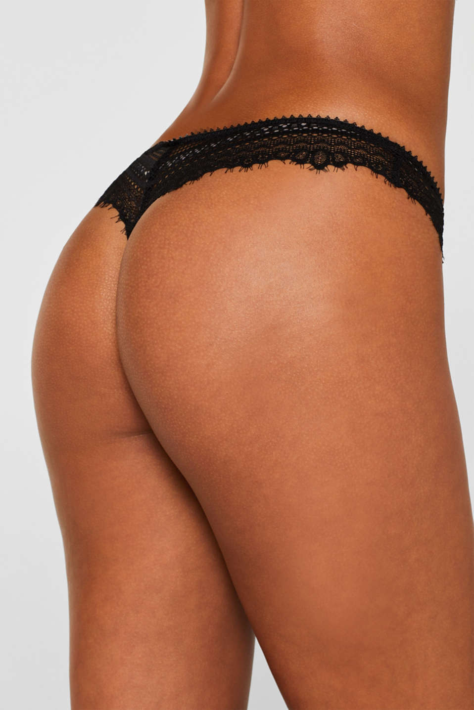 Delicate lace hipster thong, BLACK, detail image number 3