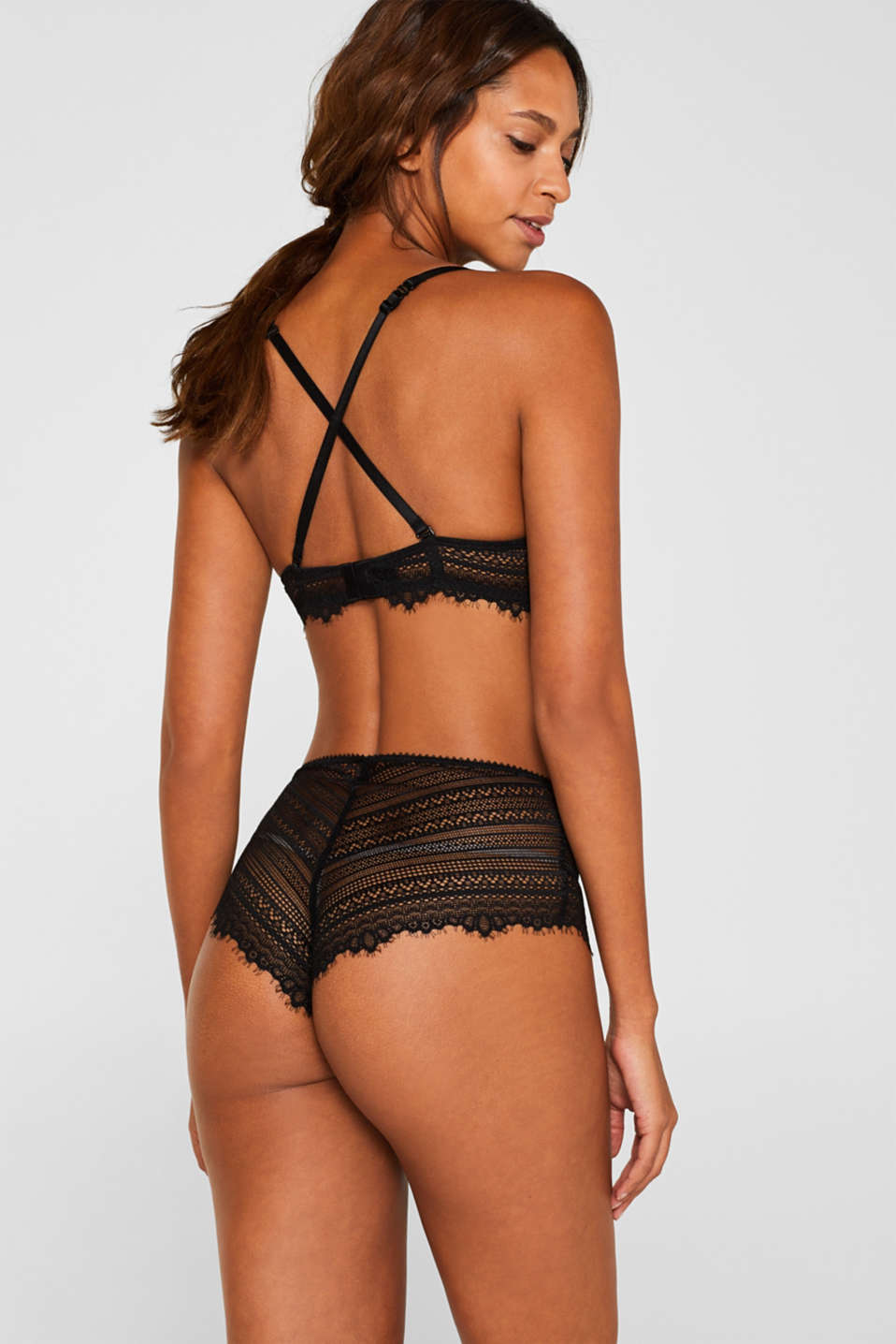 High-waisted briefs made of delicate lace, BLACK, detail image number 2