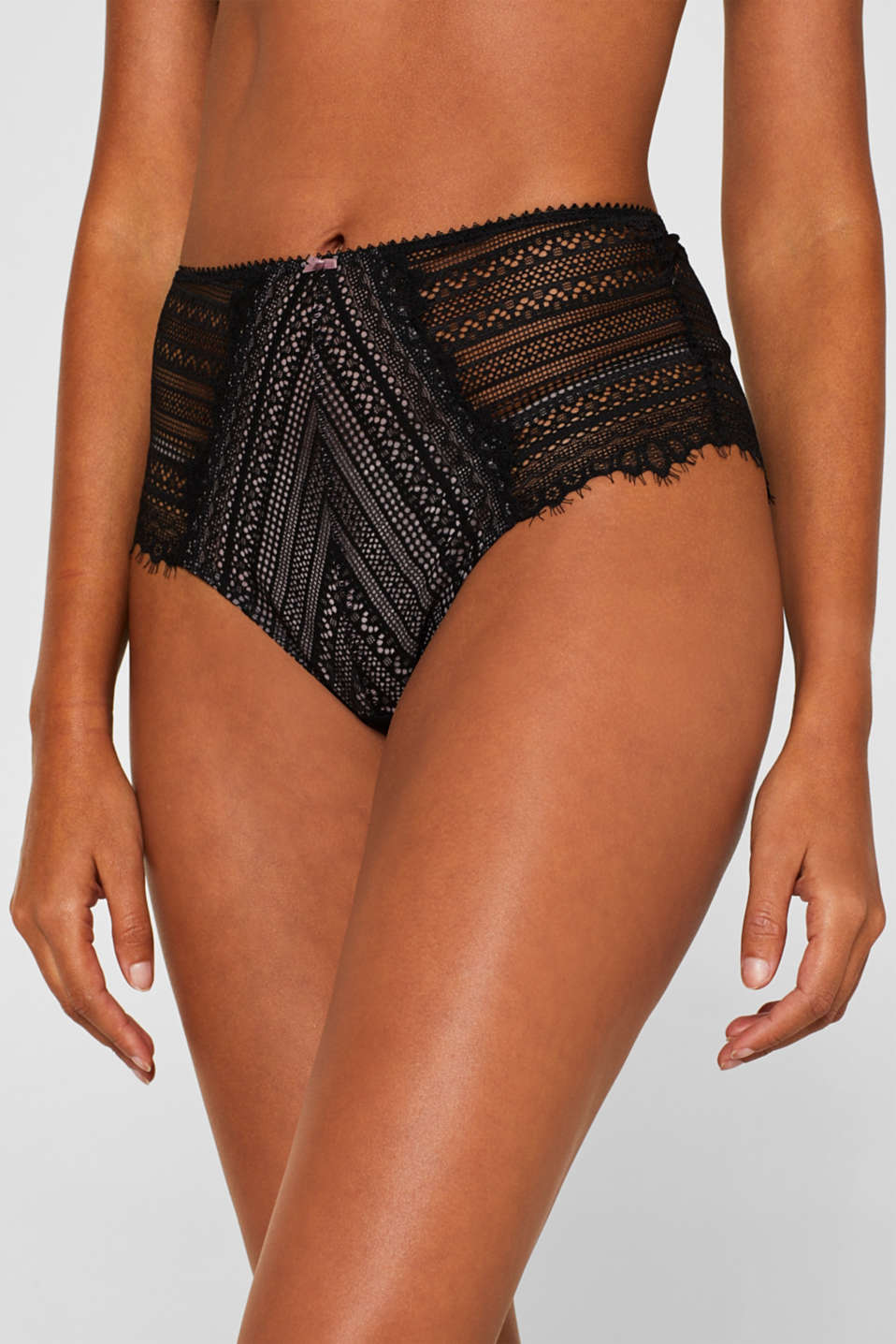 High-waisted briefs made of delicate lace, BLACK, detail image number 1