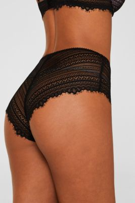 High-waisted briefs made of delicate lace, BLACK, detail