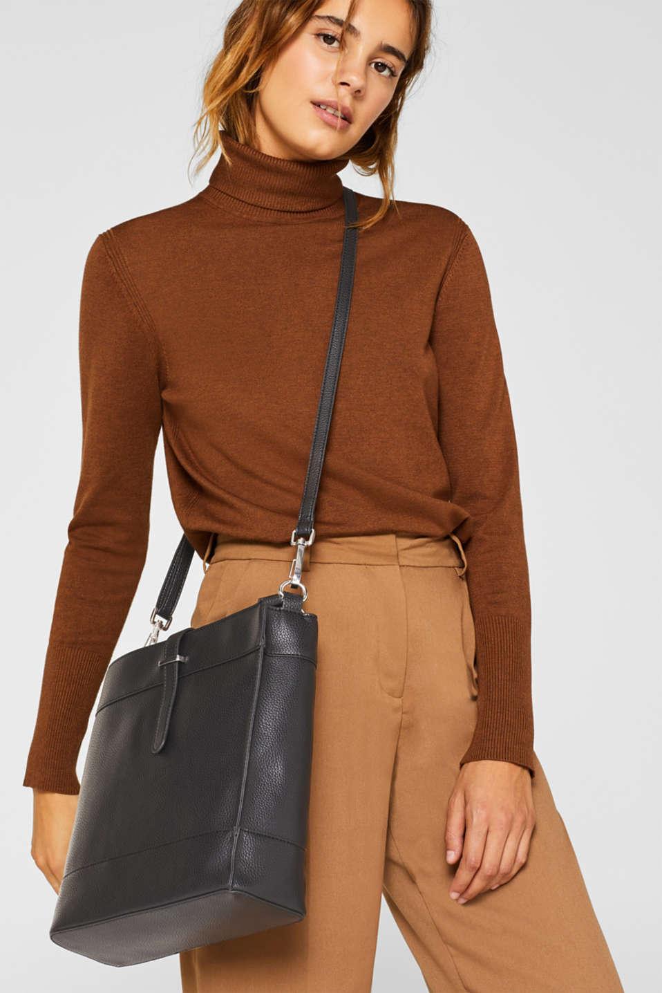 Faux leather shoulder bag, BLACK, detail image number 1