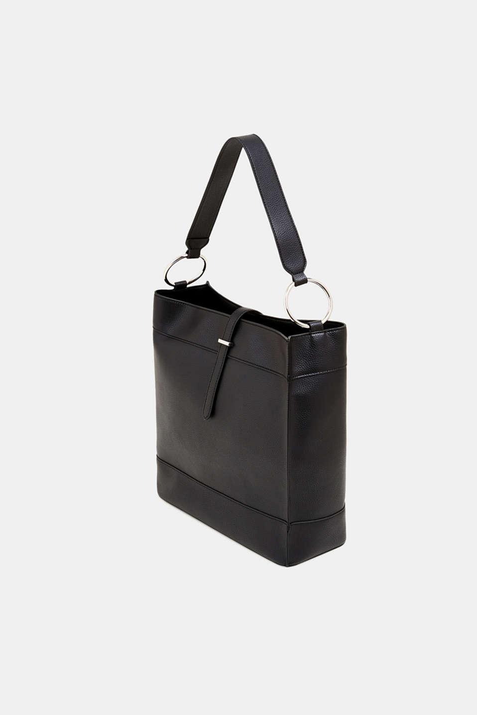 Faux leather hobo bag, BLACK, detail image number 2