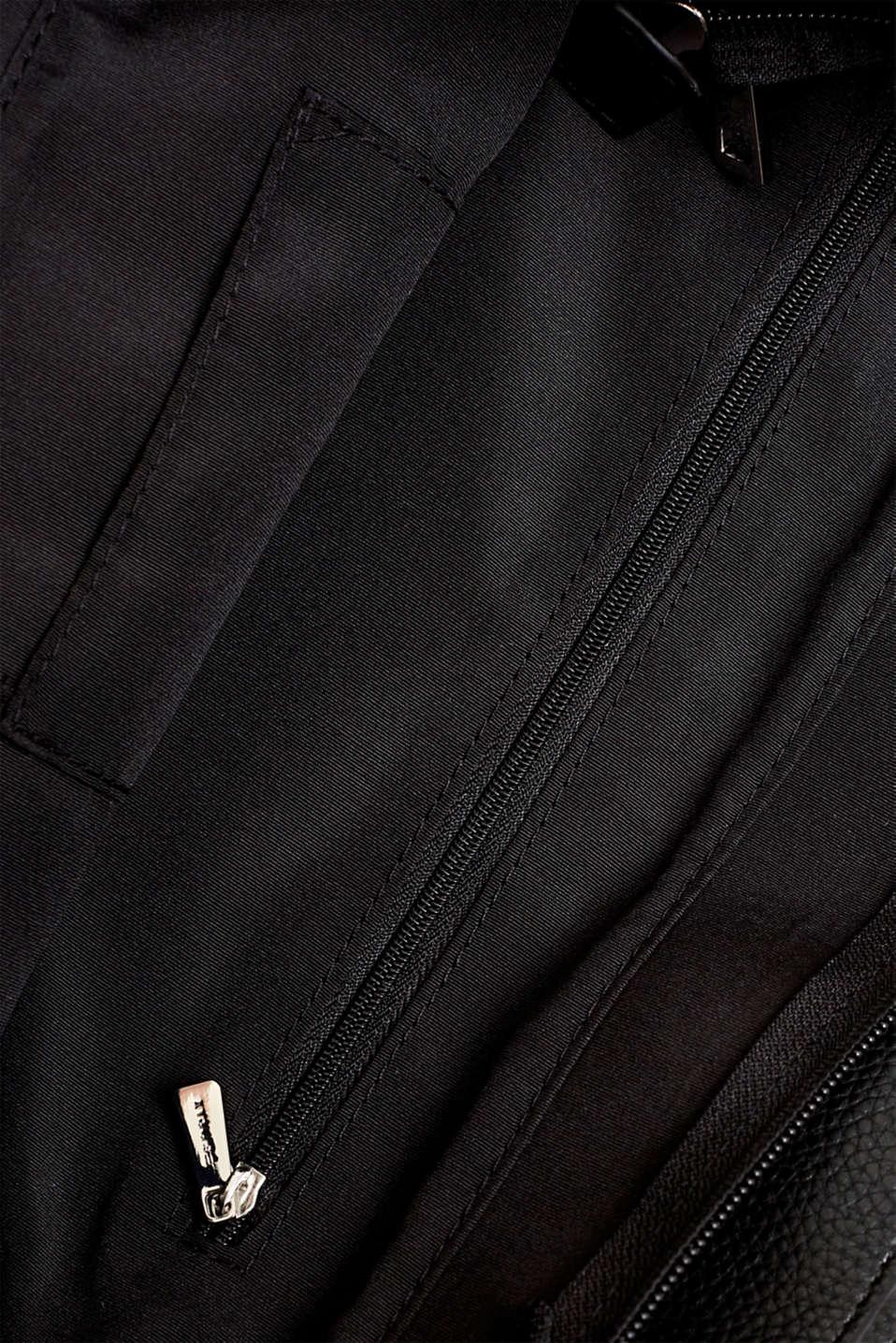Faux leather hobo bag, BLACK, detail image number 4