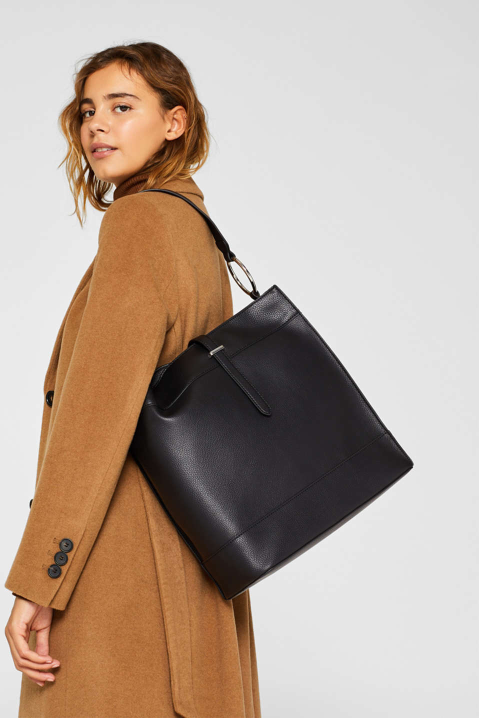 Faux leather hobo bag, BLACK, detail image number 1