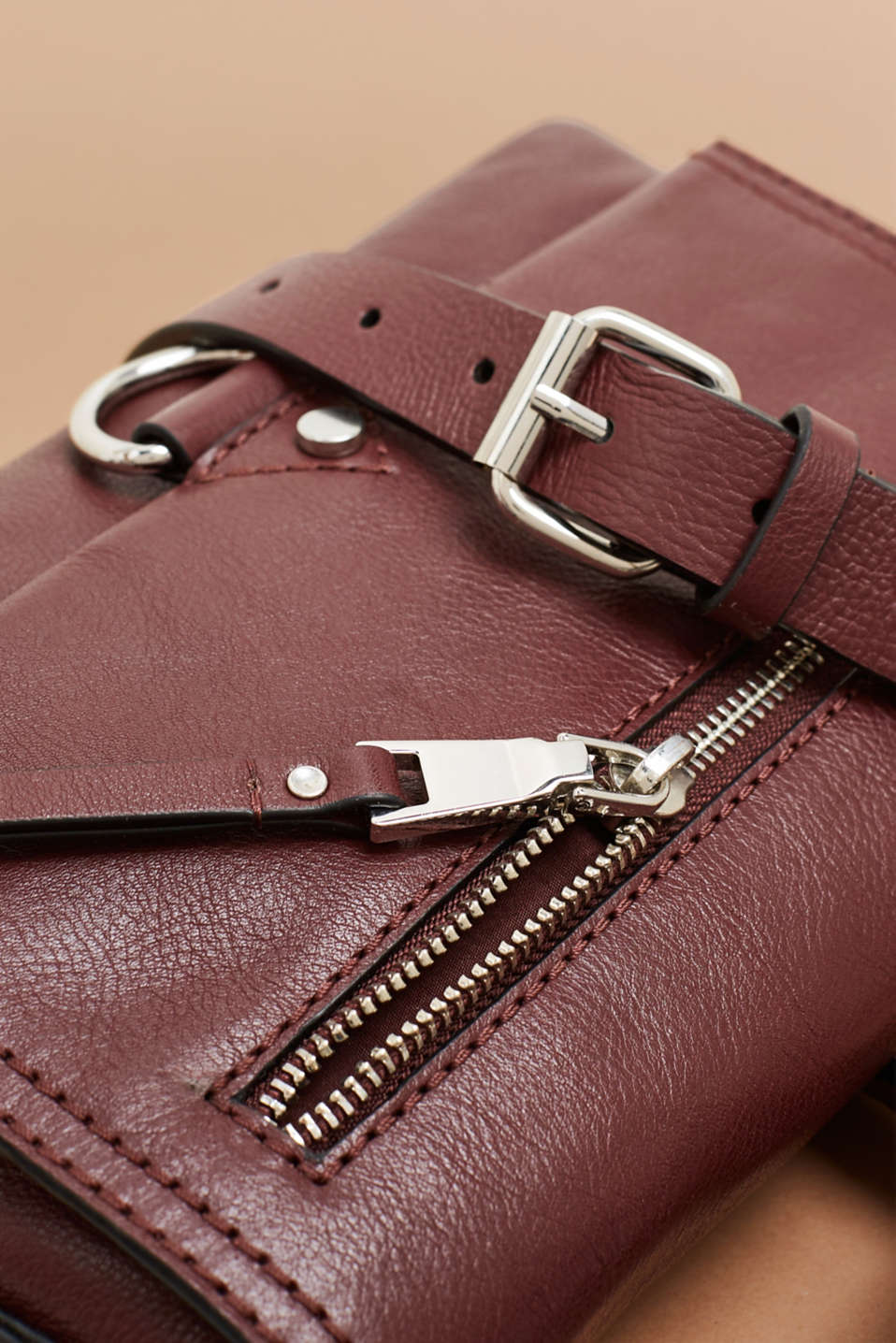 Bags leather, BORDEAUX RED, detail image number 3