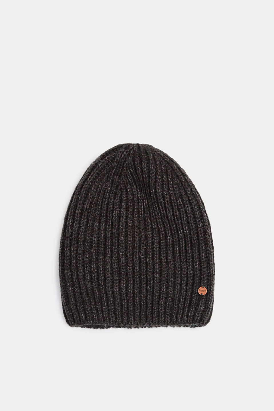 Ribbed beanie with wool, MEDIUM GREY, detail image number 0