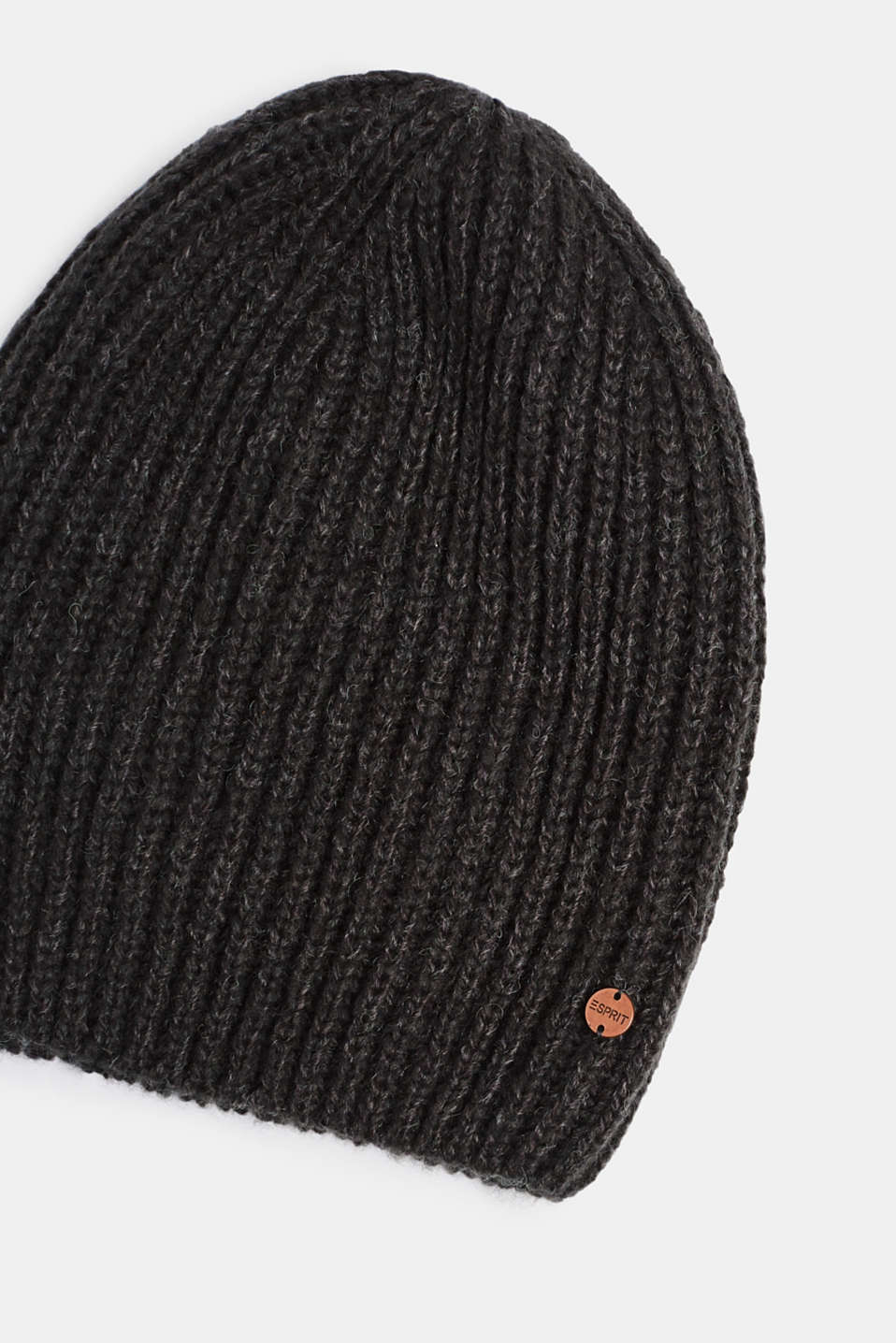Ribbed beanie with wool, MEDIUM GREY, detail image number 1