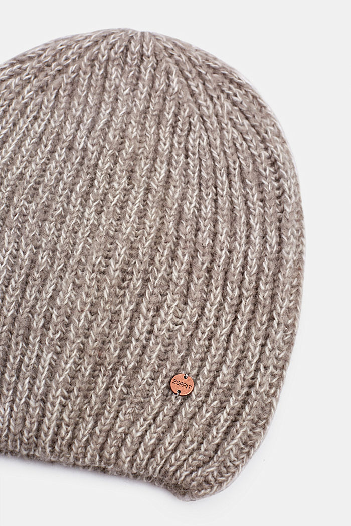Ribbed beanie with wool, LIGHT GREY, detail image number 1