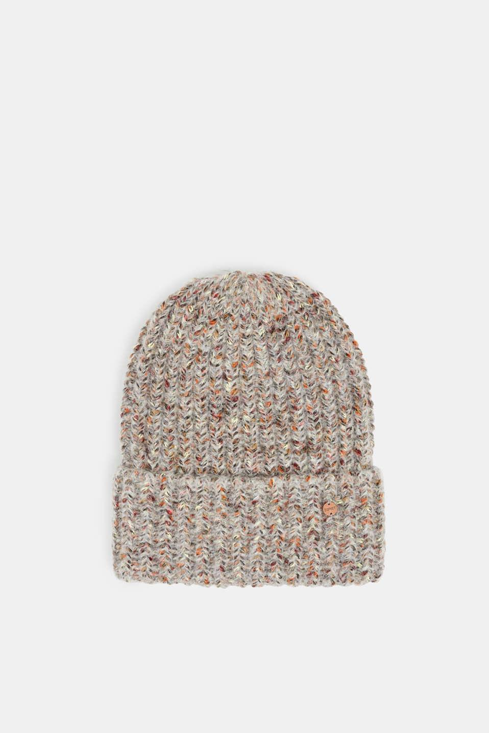 Melange hat with wool, GREY, detail image number 0