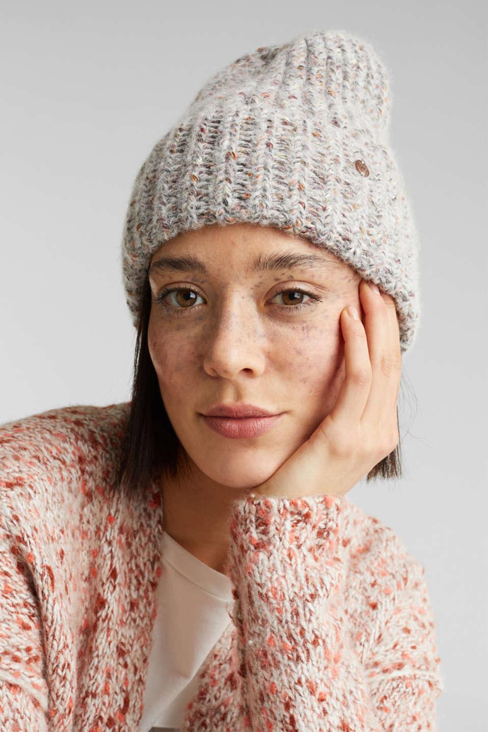 Melange hat with wool, GREY, detail image number 2