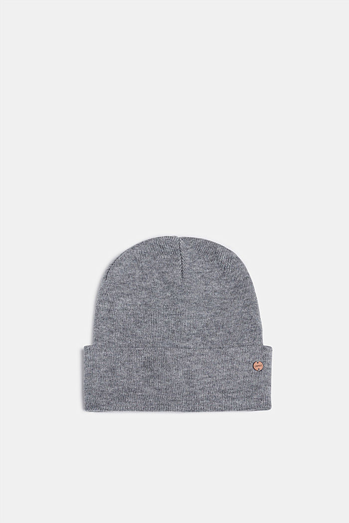 With wool: hat with a wide cuff, MEDIUM GREY, detail image number 0