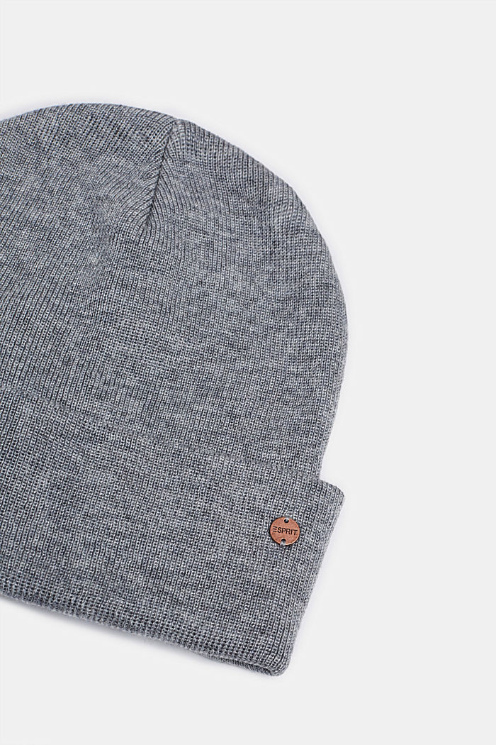With wool: hat with a wide cuff, MEDIUM GREY, detail image number 1