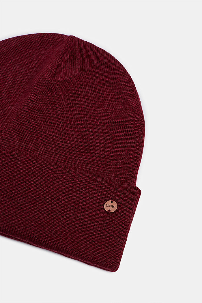 With wool: hat with a wide cuff, GARNET RED, detail image number 1