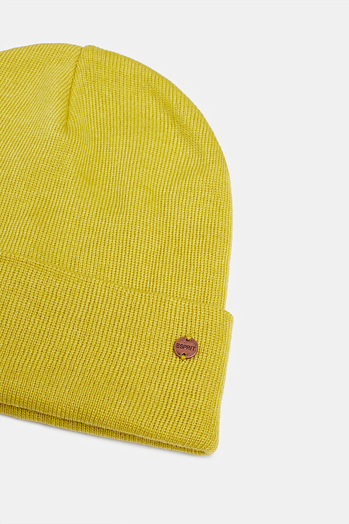 With wool: hat with a wide cuff, BRASS YELLOW, detail image number 1