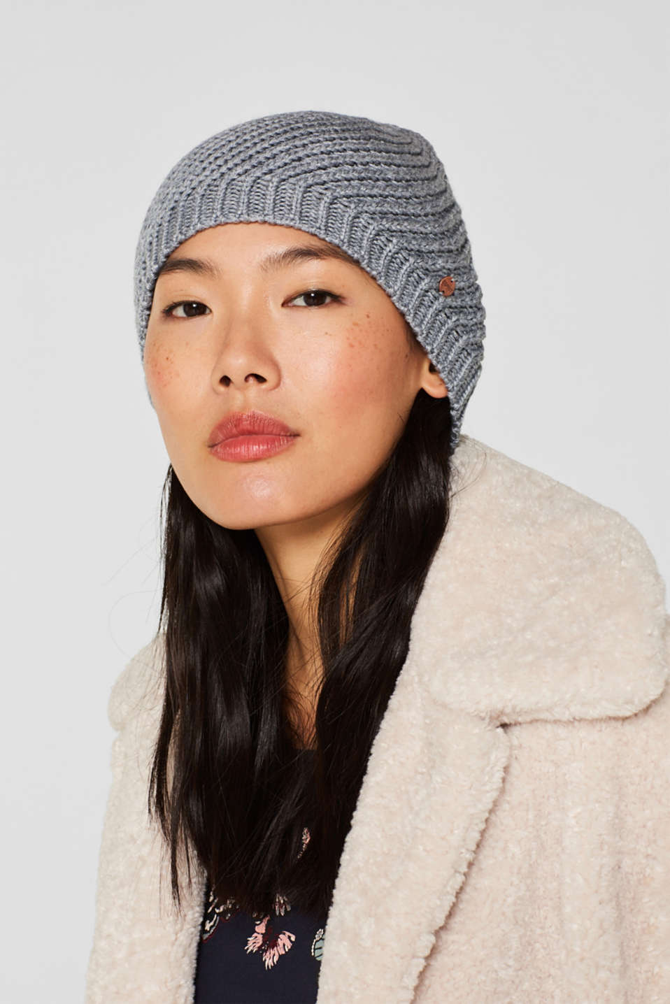 With wool: chunky knit hat, MEDIUM GREY, detail image number 2
