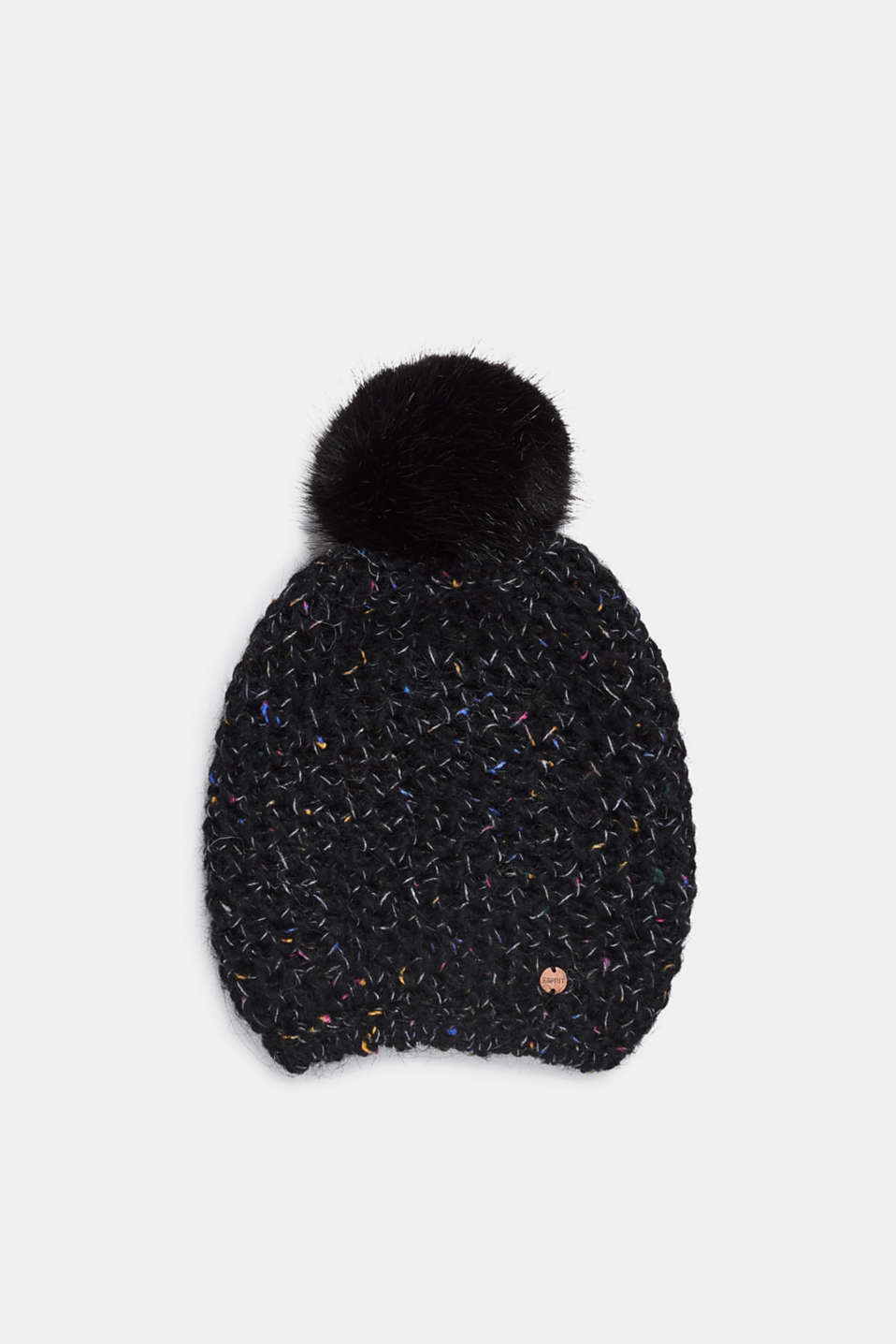 Wool blend: beanie with a faux fur pompom, BLACK, detail image number 0