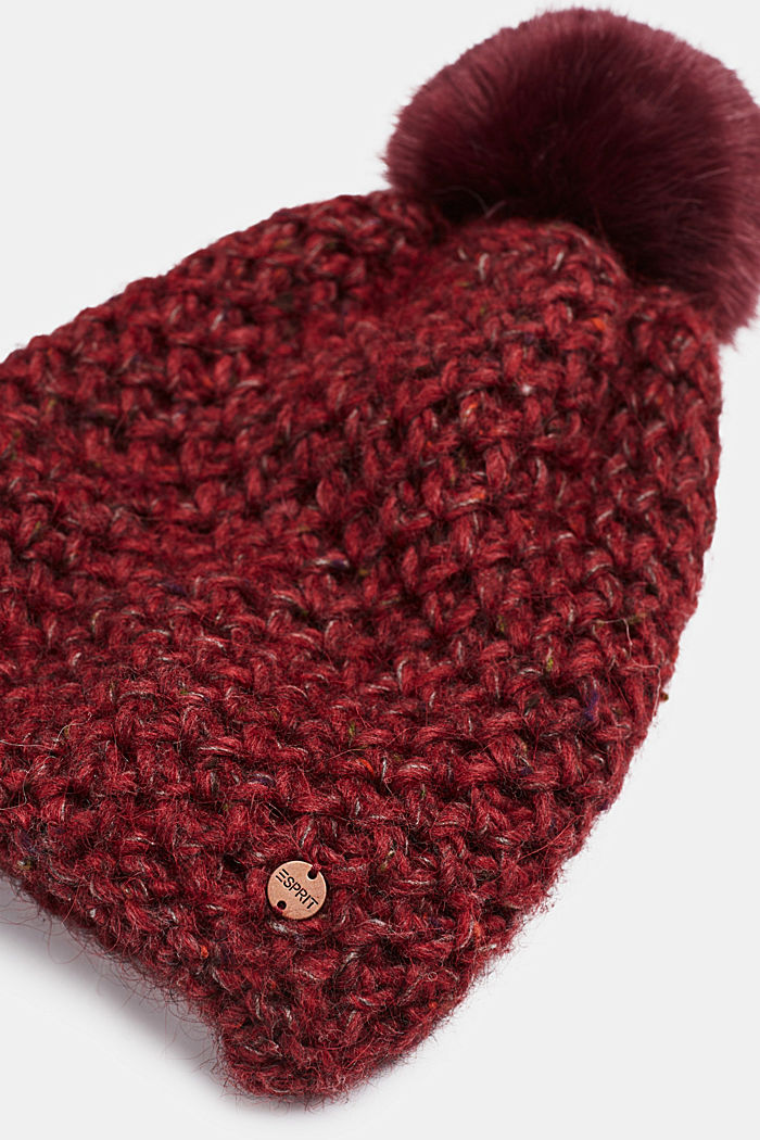 Wool blend: beanie with a faux fur pompom, DARK RED, detail image number 1
