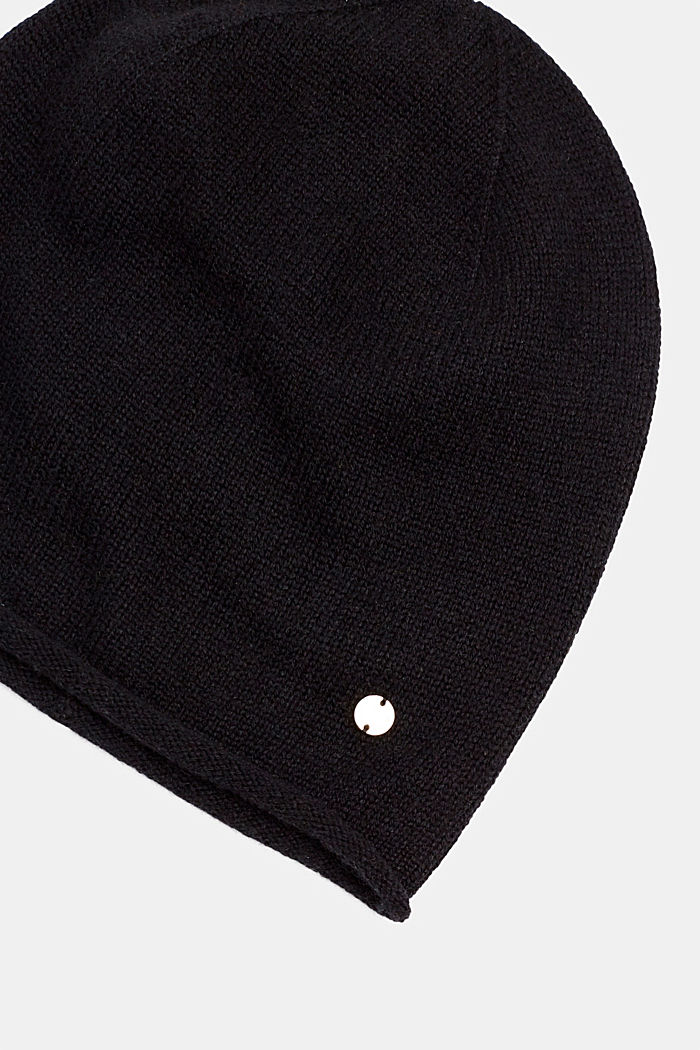 Knitted hat in a cashmere/wool blend, BLACK, detail image number 1