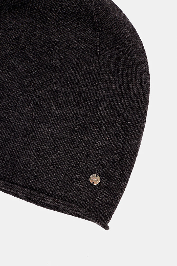 Knitted hat in a cashmere/wool blend, DARK GREY, detail image number 1