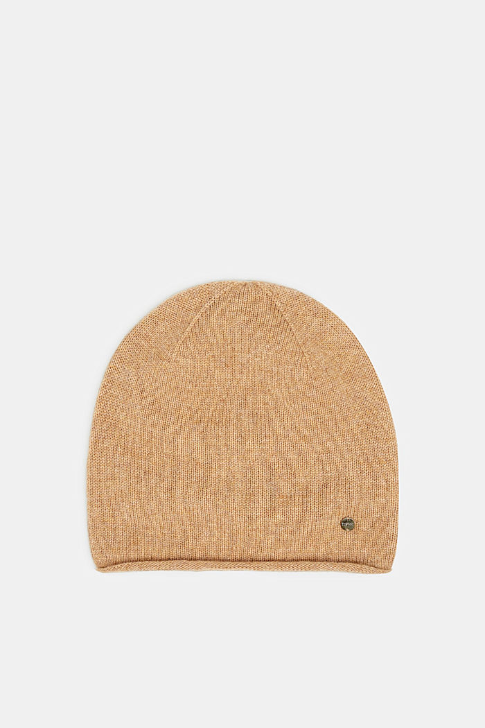 Knitted hat in a cashmere/wool blend, CAMEL, detail image number 0