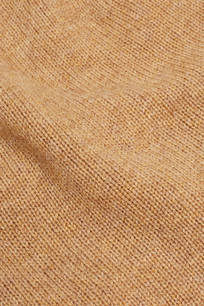Knitted hat in a cashmere/wool blend, CAMEL, detail image number 1