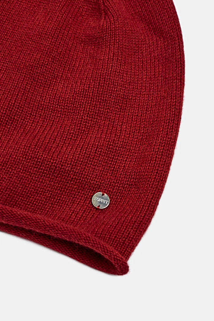 Knitted hat in a cashmere/wool blend, RED, detail image number 1
