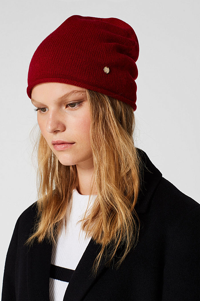 Knitted hat in a cashmere/wool blend, RED, detail image number 2