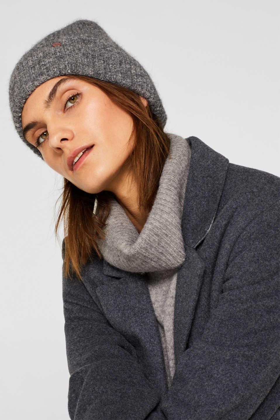 Alpaca blend: hat made of Italian yarn, GREY, detail image number 2