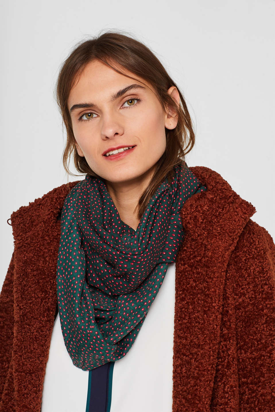 Snood with an all-over print, DARK TEAL GREEN, detail image number 1
