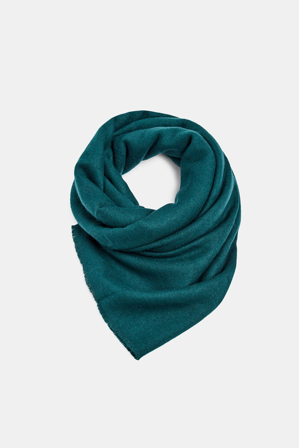 Oversized scarf with fringing, DARK TEAL GREEN, detail image number 0