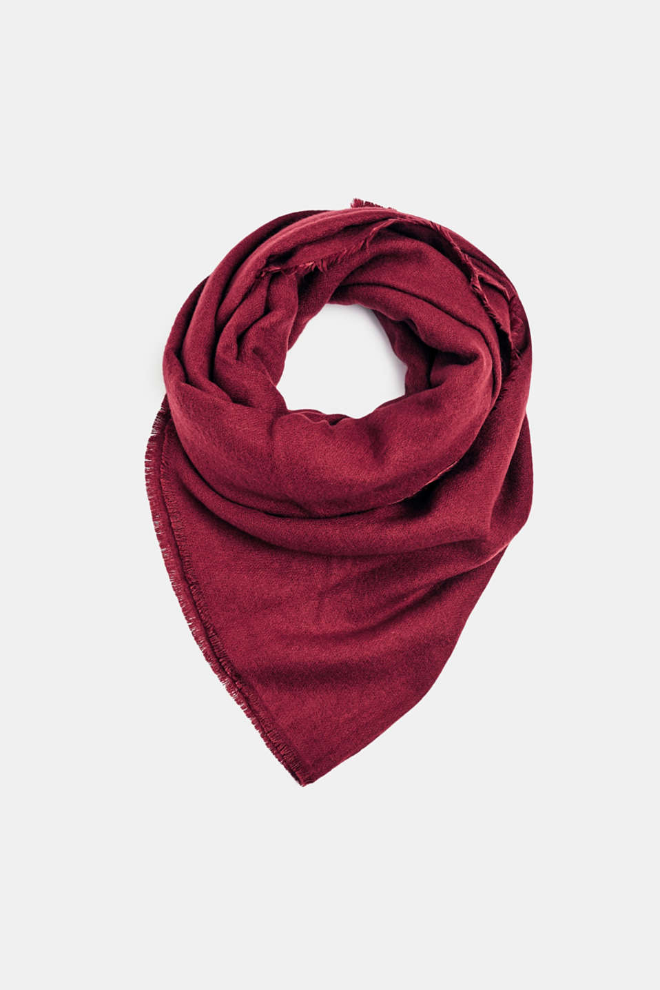 Oversized scarf with fringing, DARK RED, detail image number 0