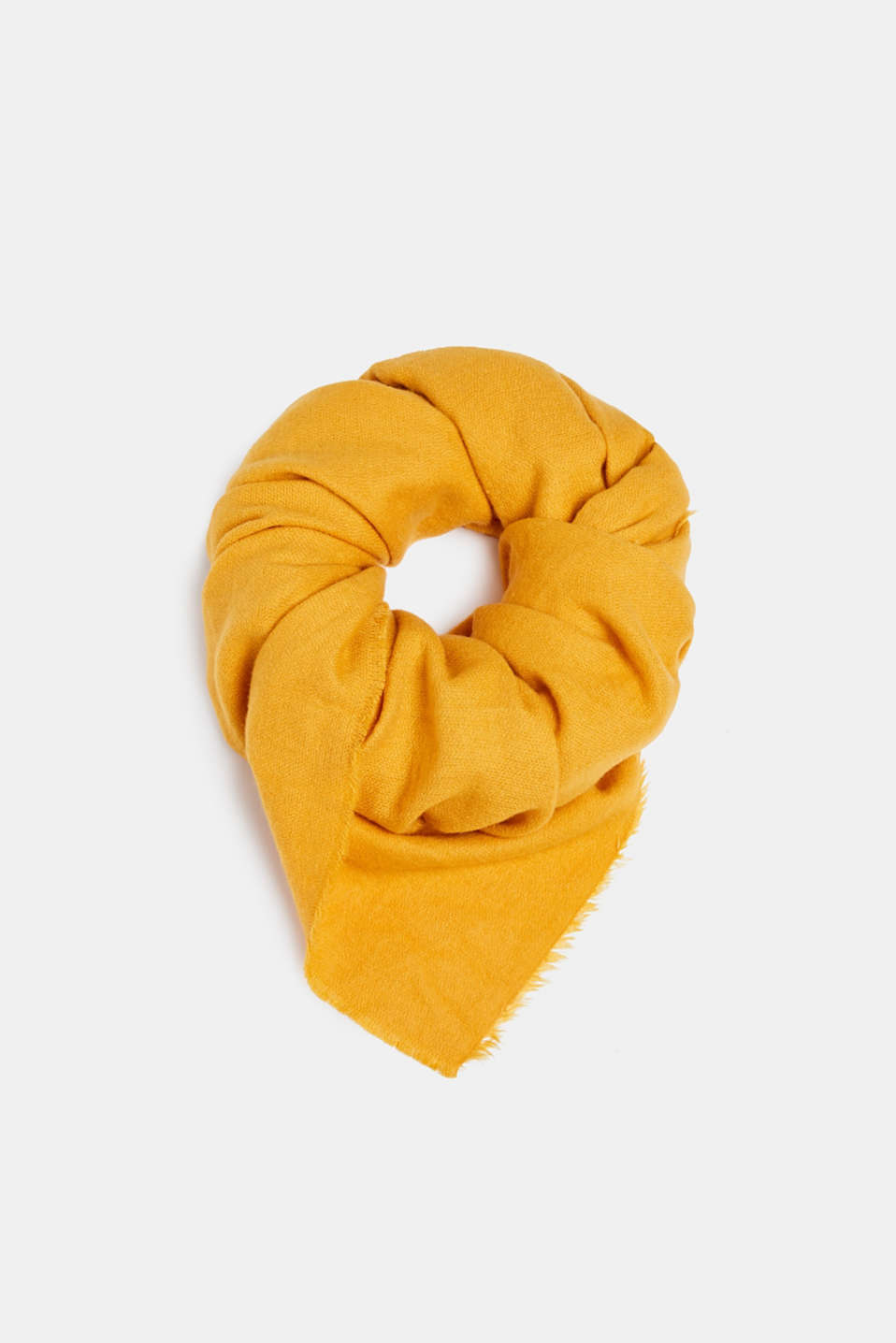 Oversized scarf with fringing, HONEY YELLOW, detail image number 0