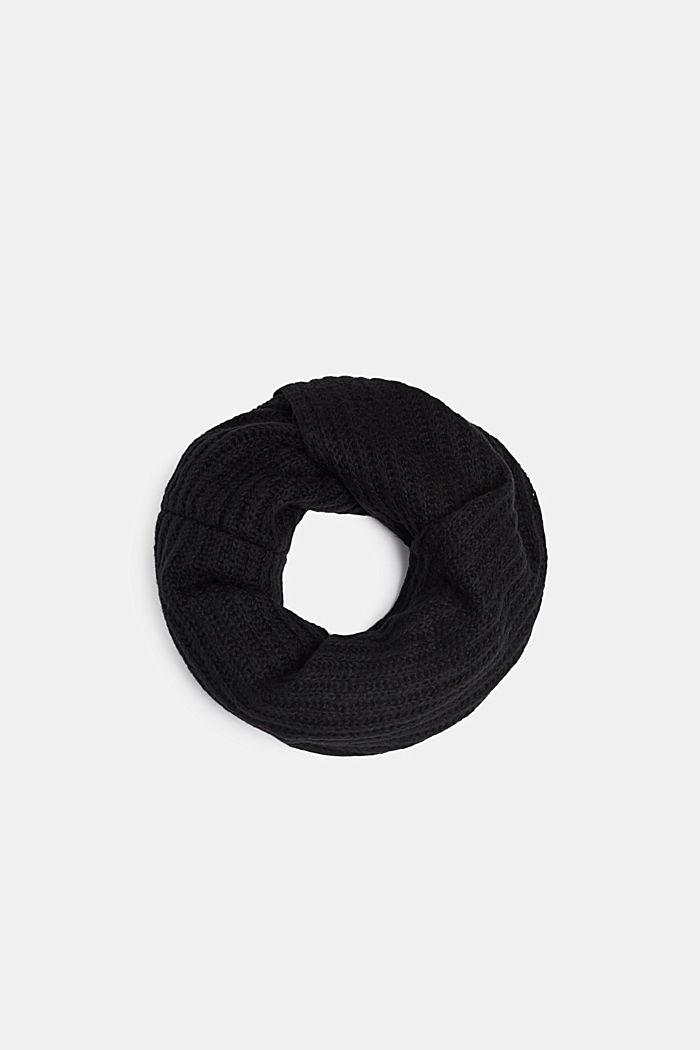 Mit Wolle: melierter Loop-Schal, BLACK, detail image number 0