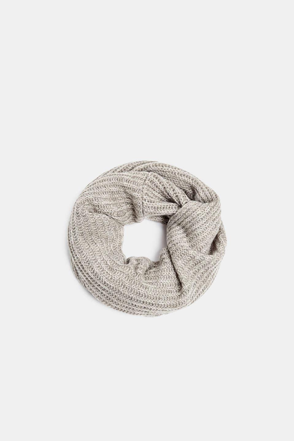 With wool: melange snood, LIGHT GREY, detail image number 0