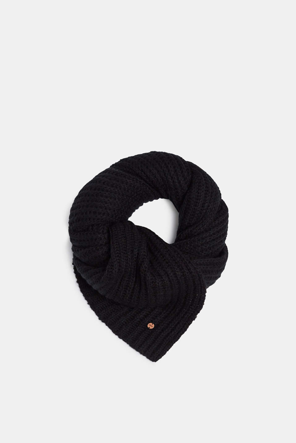 Chunky knit scarf in blended wool, BLACK, detail image number 0