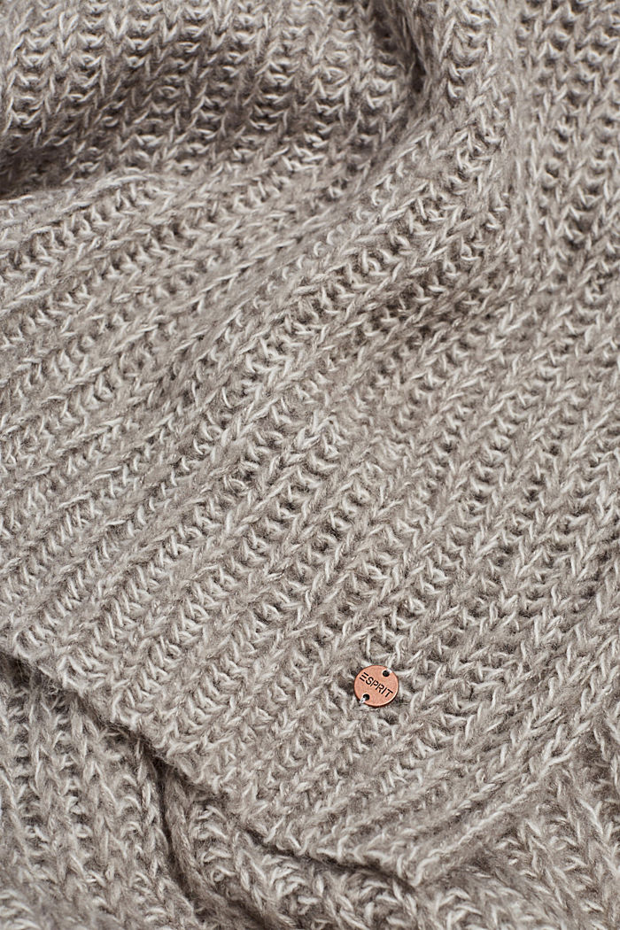Chunky knit scarf in blended wool, LIGHT GREY, detail image number 2
