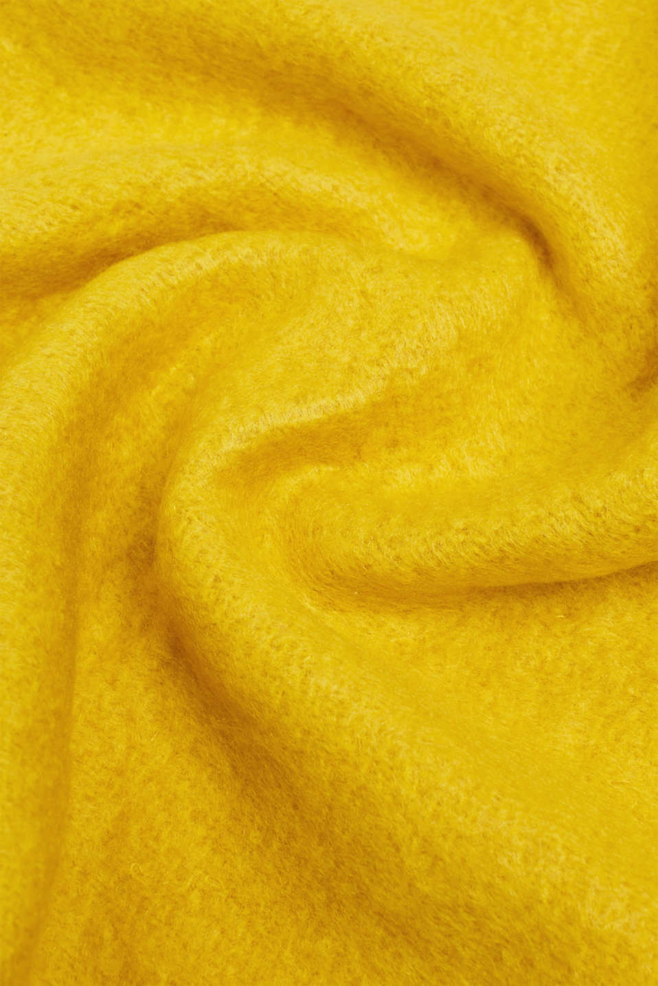 XL scarf with fringing, BRASS YELLOW, detail image number 2