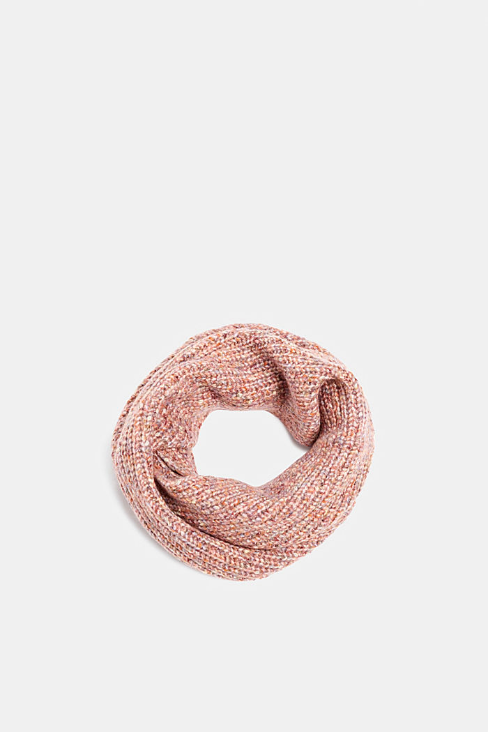 With wool: Snood scarf in a multi-coloured look, OLD PINK, detail image number 0