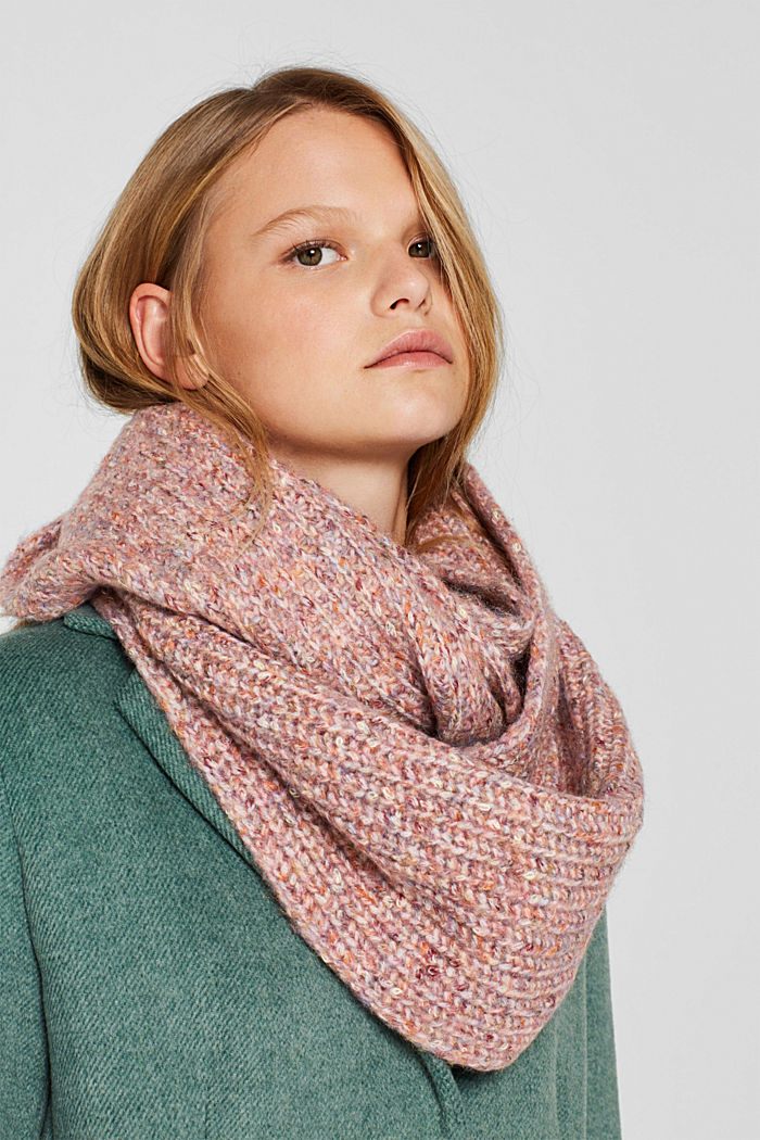 With wool: Snood scarf in a multi-coloured look, OLD PINK, detail image number 1