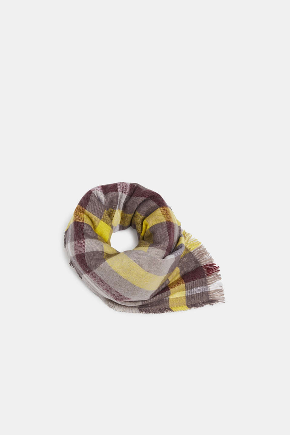 Double-faced scarf with checks, TAUPE, detail image number 0