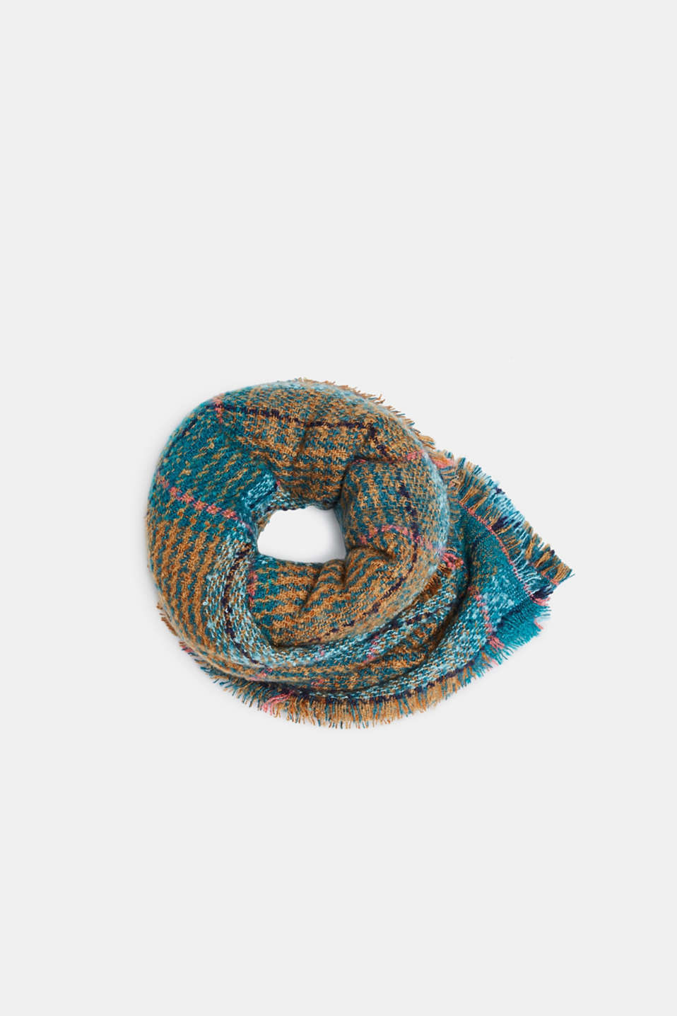 Bouclé scarf with a check pattern, TEAL GREEN, detail image number 2