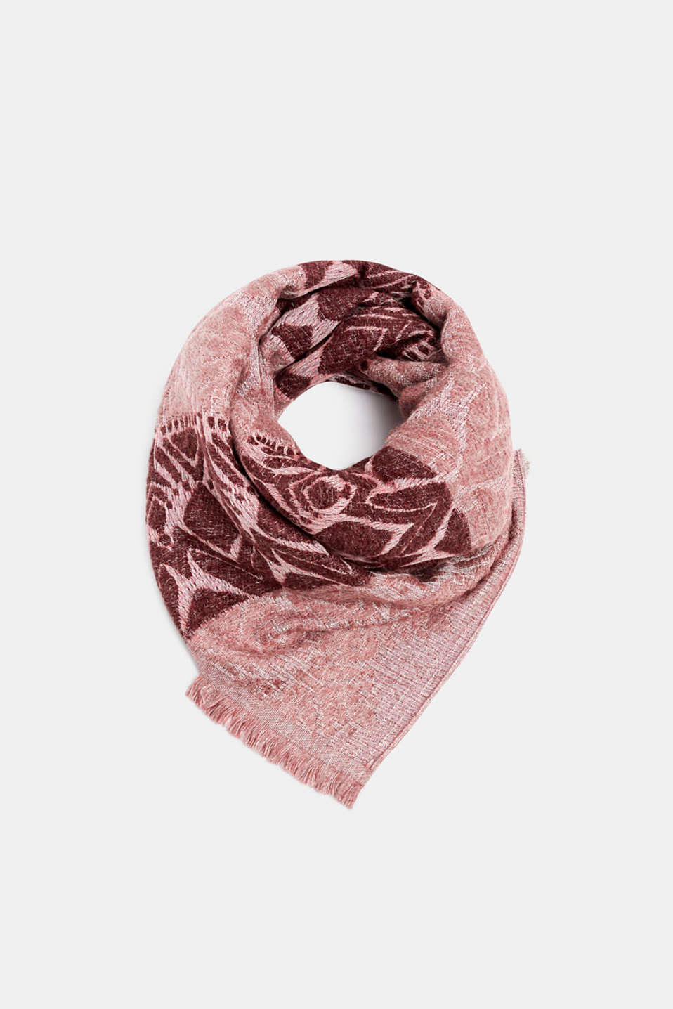 With wool: Scarf with jacquard fabric, DARK RED, detail image number 0