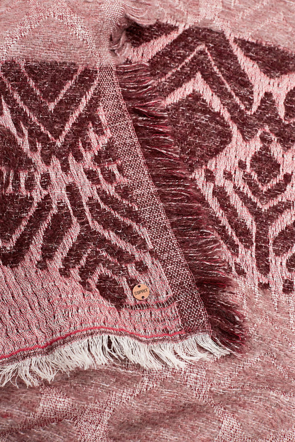 With wool: Scarf with jacquard fabric, DARK RED, detail image number 2