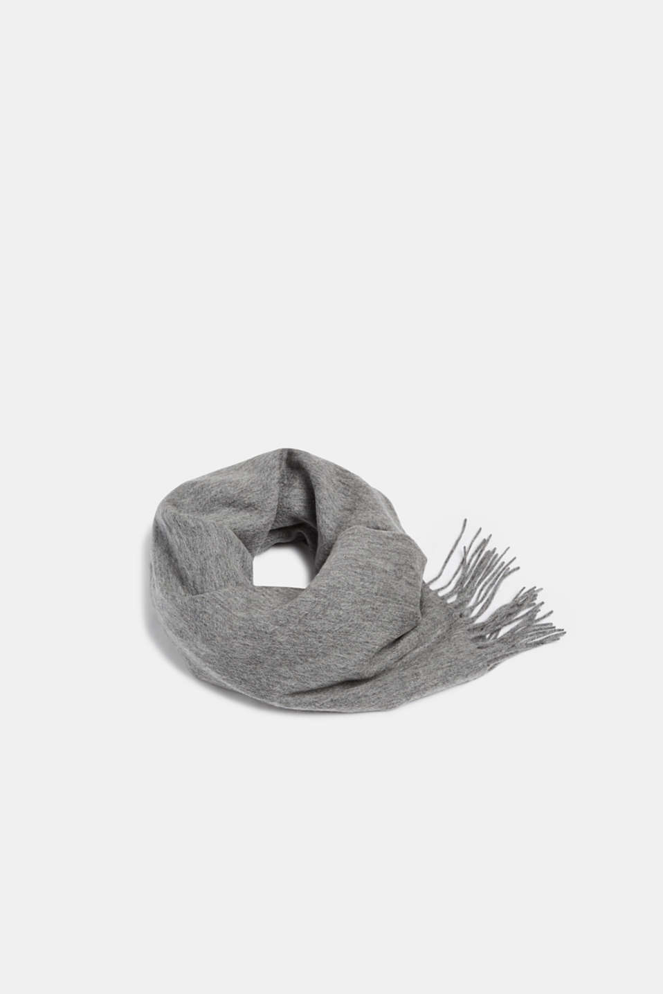 100% wool: scarf with fringing, GREY, detail image number 0