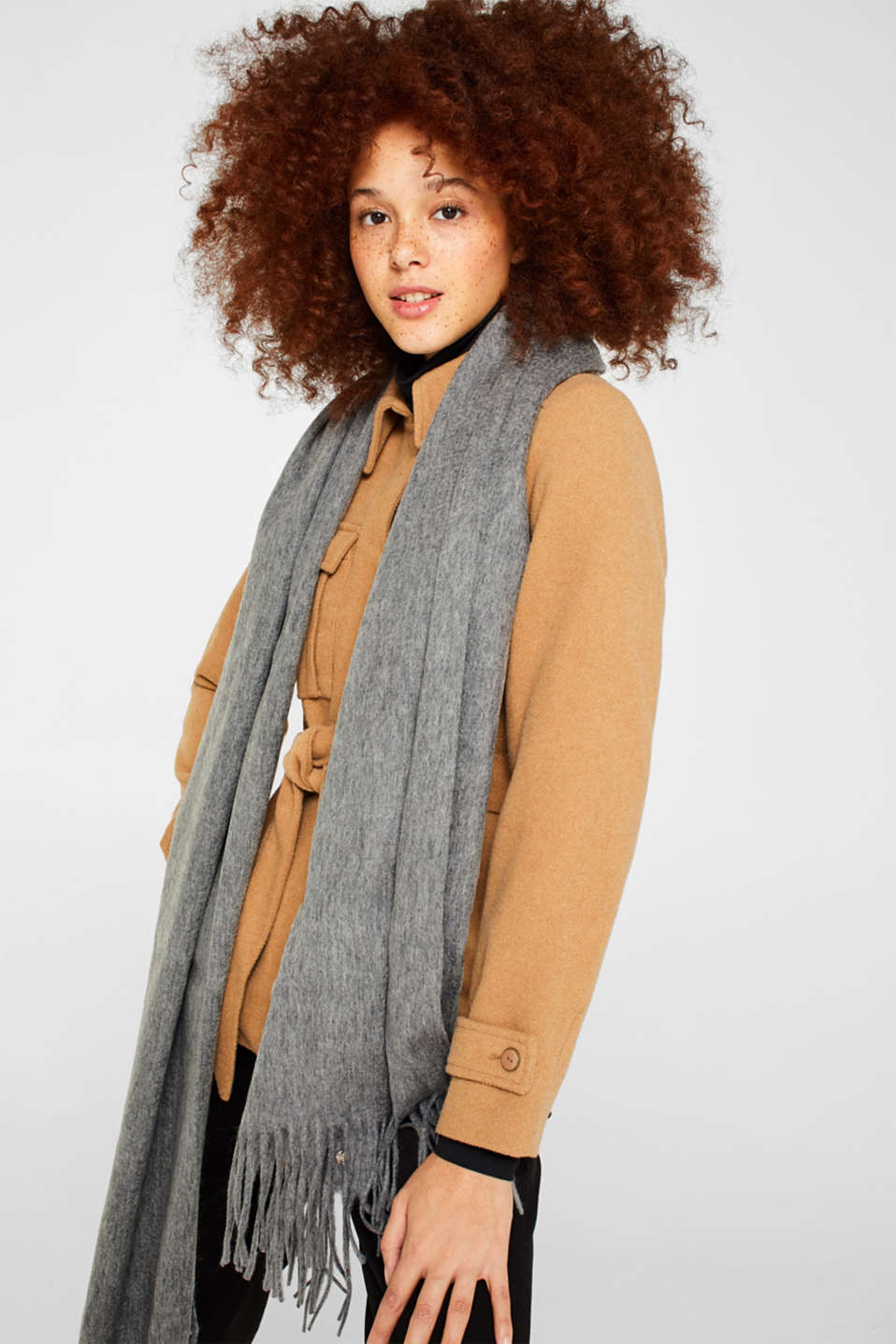 100% wool: scarf with fringing, GREY, detail image number 1