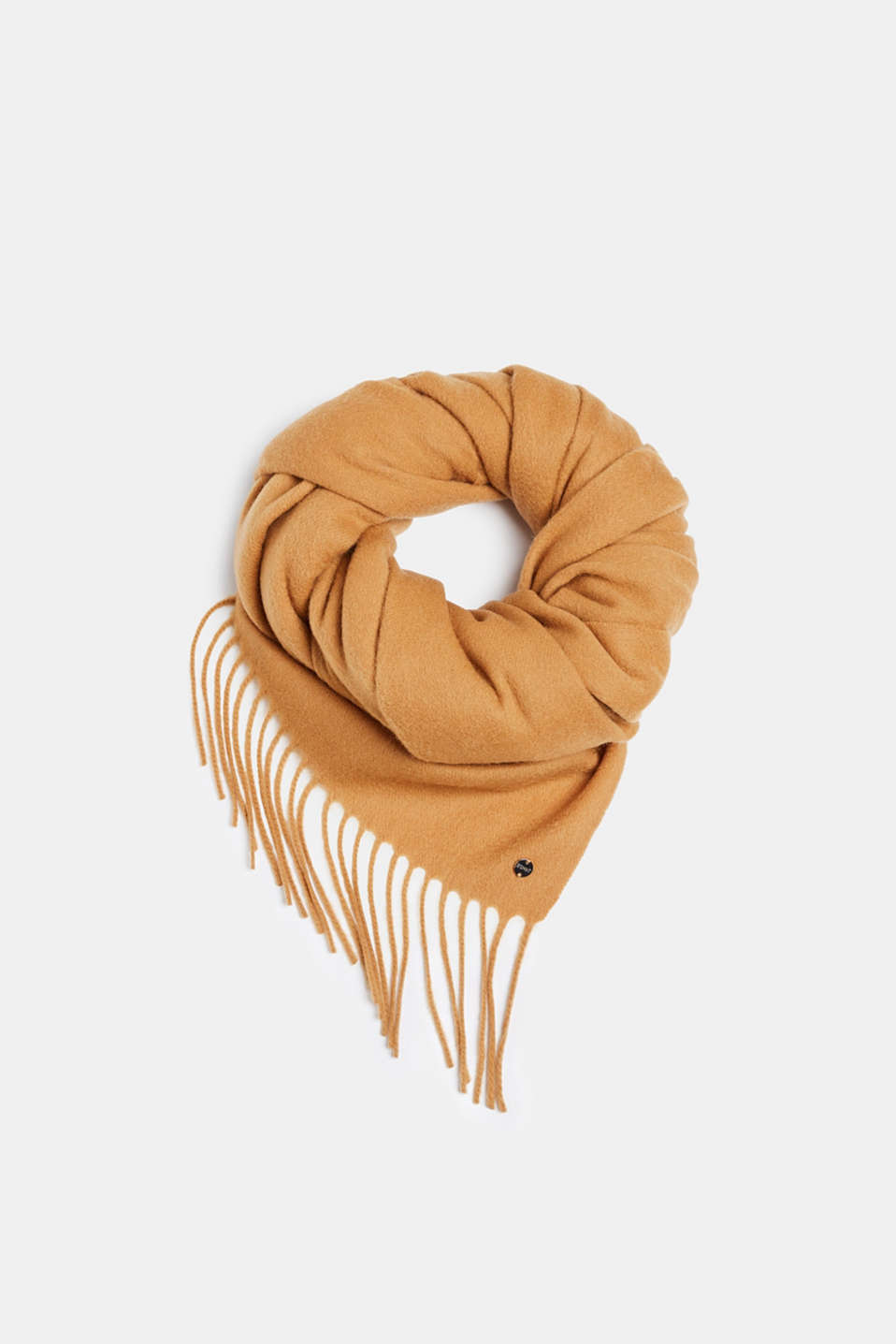 100% wool: scarf with fringing, CAMEL, detail image number 0