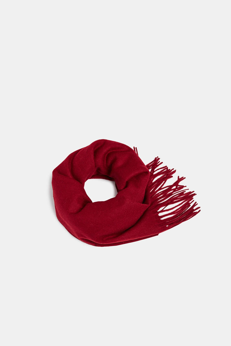 100% wool: scarf with fringing, DARK RED, detail image number 0