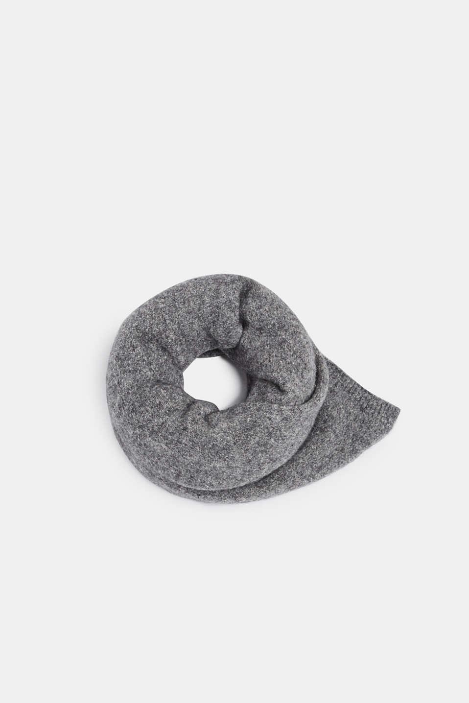 Wool blend: scarf made of Italian yarn, GREY, detail image number 0