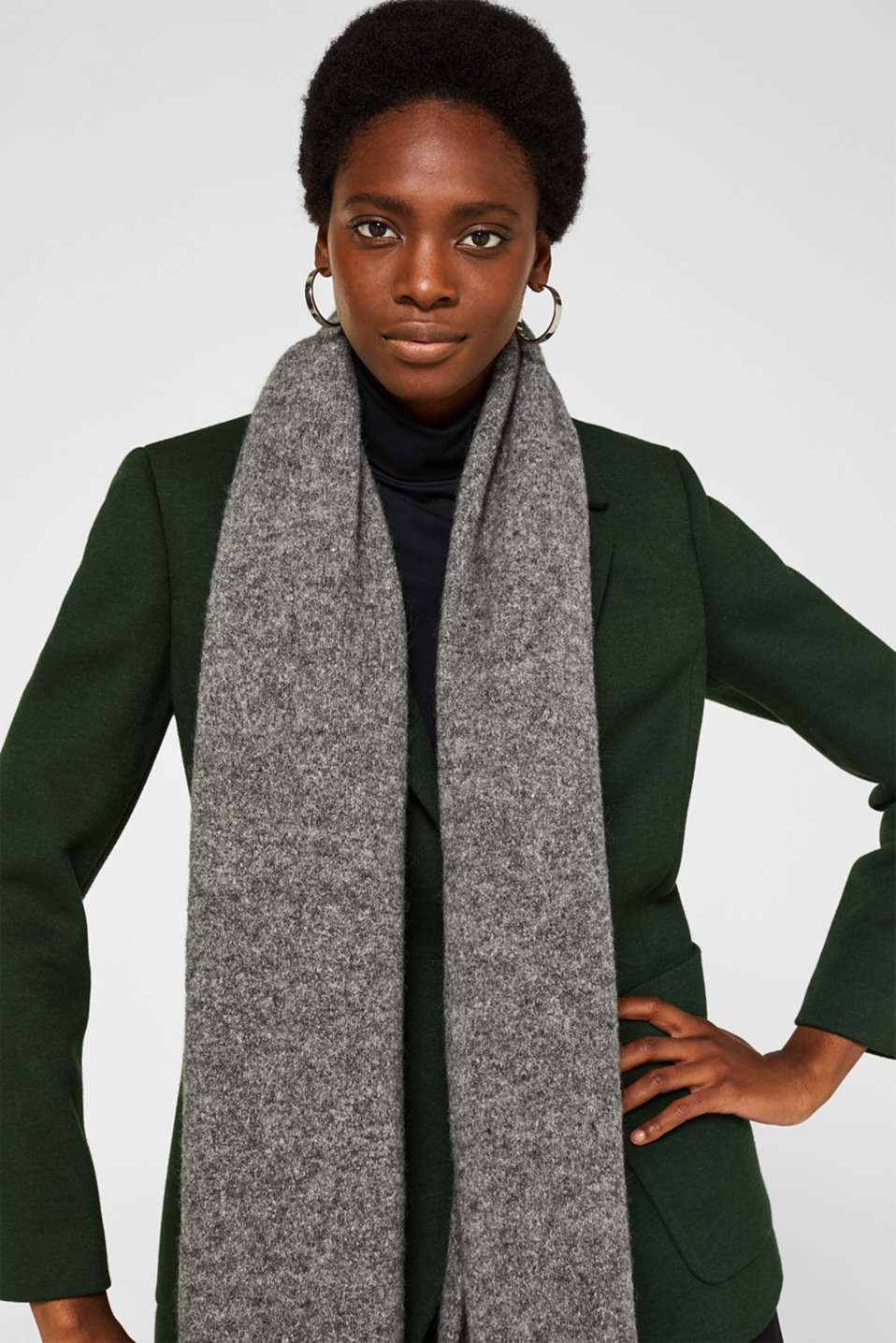Wool blend: scarf made of Italian yarn, GREY, detail image number 3