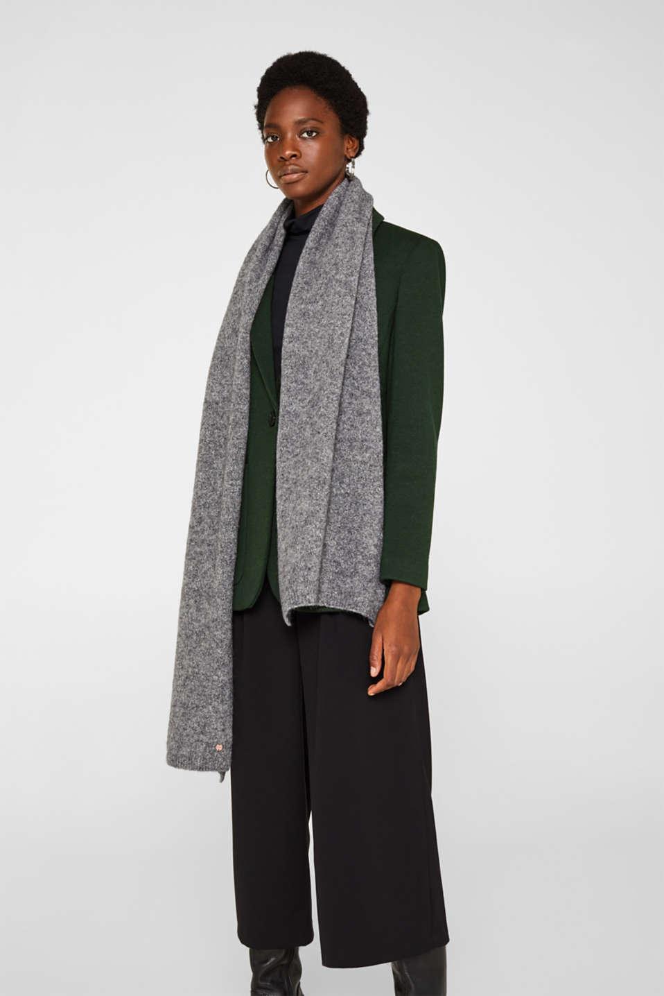 Wool blend: scarf made of Italian yarn, GREY, detail image number 1